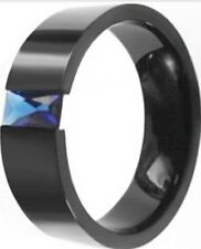 8MM Size 7-15 Black Gold Ring Stainless Steel Wedding Band Sapphire Princess Cut