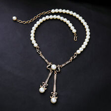 White Strand Beads Elegant Pearl Necklace Pendant Gorgeous Crystal Bowknot Bar