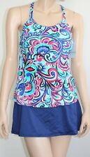 24th & Ocean Small Paisley Hi Neck Tankini Skirted 2 Piece Swimsuit Set NEW