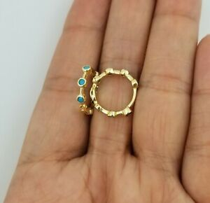 14K Yellow Gold Over Round Blue Turquoise Hoop Earrings