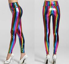 New Ladies aspecto húmedo Cintura Alta Leggings Rayas Brillo Arco Iris De Varios Colores 8-10