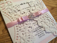 New handmade Luxury Laser Cut Winter Snowflake Wedding Invitation