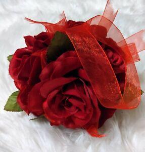 Red Rose Flower Kissing Ball Wedding Silk Rose Party Pomander Flower Girl Decor