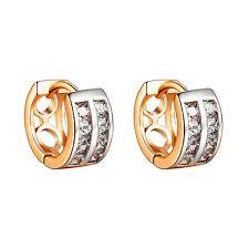 Princess Cut Hoop Earrings 14k Yellow Gold Finish Mens Womens 12mm Classy