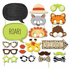 20 Photo Booth Photobooth Kids Animal Jungle Woodland Birthday Party Props DIY