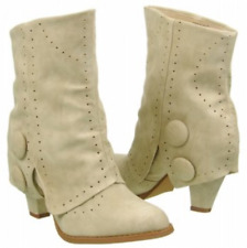 NIB Not Rated MOST WANTED Cream Pierced FOLD OVER Boots Bootie Womens 6 M