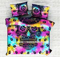 Indian Duvet Doona Cover Queen Tie Dye Skull Mandala Reversible Quilt Cover Set