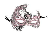 Maschera Di Venezia Di Lusso Maschera Veneziano Pizzo Di Metallo Nero E Rosa 6