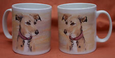 LURCHER HOUND GREYHOUND WHIPPET DOG MUG PORTRAIT WATERCOLOUR PRINT SANDRA COEN