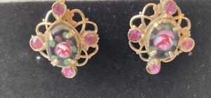 Vintage Pink Rose Earrings -  Guilloche Enamel Sterling Silver Screw Back