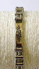 Bracelet ,Gourmette acier inox   chaîne moto et tribal 21 cm 40,60 gr