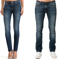 Nudie Damen Herren Unisex Skinny Fit Röhren Stretch Jeans Tube Tom Blue Nights