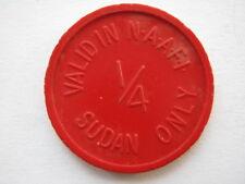 NAAFI Sudán Farthing o cuarto Piastre Token rojo de plástico