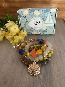 Plunder Falling Leaves Bracelet Set - Fall colors accented with wood elements