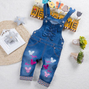 Toddler Baby Girls Overalls Jeans Jumpsuit Trousers Casual Rompers Denim Pants