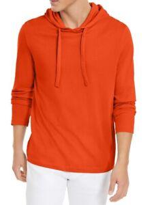 Michael Kors Men Hoodie Orange Size 2XL Long Sleeve Jersey Knit Pullover $59 075
