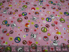 3 Yards Quilt Flannel Cotton Fabric - Flannel Skulls Hearts Peace Signs on Pink