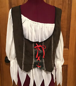 Renaissance Ladies Pirate Brown Bodice Vest-and Shirt Wench-Halloween Costume 14
