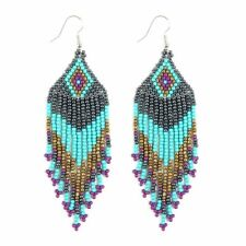 Seed Beads Dangling Drop Earrings ( Variety Color Available ) By DOBBI