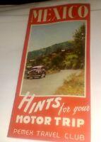 Vintage MEXICO - HInts for your Motor Trip Pemek Travel Club brochure