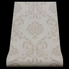 Damask Wallpaper Textured Vinyl Traditional Cream Beige Paste The Wall P+S