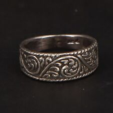 Sterling Silver - Filigree Ornate Solid Tapered Band Ring Size 6.25 - 2.5g