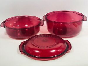 Tupperware TupperWAVE Microwave Stack Cooker 3 pcs Cranberry 2192 3 & 1-3/4 Qt