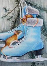40% OFF SALE! ACEO Limited Edition Print Winter Mouse Mice Blue Ice Skates