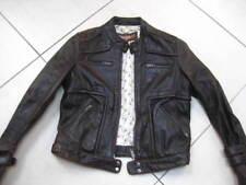 Ladies NEXT brown real leather JACKET COAT size UK 8 6 racer biker distressed