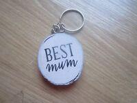 New Best Mum Wooden Keyring Rustic Gift Birthday Present  Mum Keys Key (BV50)