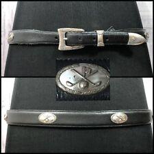 Vtg Brighton Mens Onyx Leather Belt Silver Buckle Golf Black Sz 40 XL
