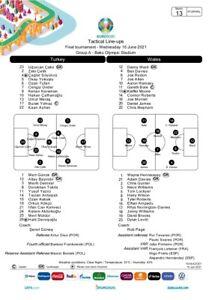Wales v Turkey UEFA Team sheet Euro 2020 Press Pack
