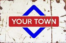 Sign Glastonbury Aluminium A4 Train Station Aged Reto Vintage Effect