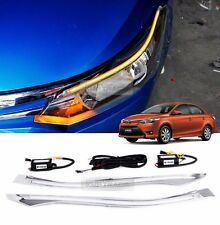 Front Chrome Molding Head Lamp EyeLine 2Way LED for TOYOTA 2014-16 Vios XP150