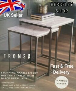 NEW TROMSO MODERN STYLISH SET OF 2 MARBLE EFFECT NEST OF TABLE WITH METAL FRAME