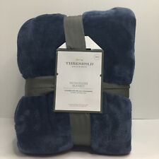 Microplush Bed Blanket Twin Metallic Blue - Threshold