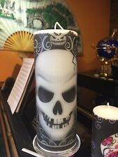 Fright Night  SKULL Hand Decorated PILLAR CANDLE 18x6.5cm