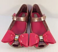 Mel by Melissa Ultragirl Gold Glitter Bow Scented Mary Janes Girls Size US 5M