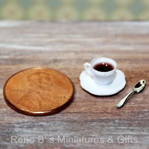 Dollhouse miniature 1:12 Cup of Coffee with Spoon Made in USA