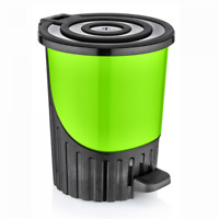 14 Litres GREEN Waste Pedal Bin Handy Office Bedroom Paper Dustbin