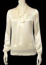 Tory Burch Cream Silk Bow Long Sleeve Blouse Size 0