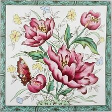 Victorian Peony Tile Decorative Peonies Butterfly Tile Hand Made/Decorated in UK