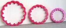 "EUC Pink RUFFLED CIRCLE Flower COOKIE Cutter LARGE ONE Plastic 3.75"" Diameter"