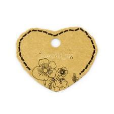 100pcs Hear Shape Earring Hanging Display Card Flower Pattern Kraft Paper Holder