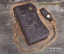 Tiger Vintage Biker Long  Genuine Leather Card Houlder Wallet With Chain