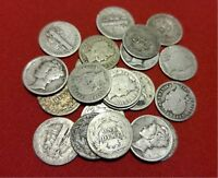 LOT OF (5) Mercury and Barber Silver Dime CULL Coins // 1892-1945 // 90% Silver