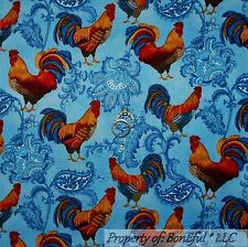 BonEful Fabric FQ Cotton Quilt VTG Blue Flower Toile ROOSTER Chicken Kitchen Hen