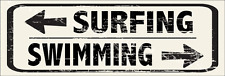 Swimming Surfing Directions Metal Signs, Beach Decor