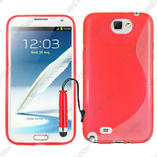 Housse Etui Coque Silicone S-line Rouge Samsung Galaxy Note 2 + Mini Stylet