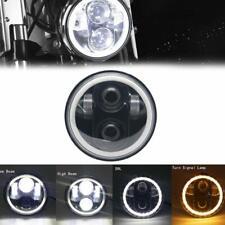 "5-3/4"" Switchback White Amber LED Halo DRL Turn Signal Angel Eye Headlight EACH"